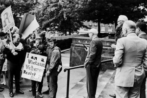 An antiwar veteran at a Support Demonstration at the Federal Building in dowtown Seattle, September 13, 1968. Copyright (c) Fred Lonidier.
